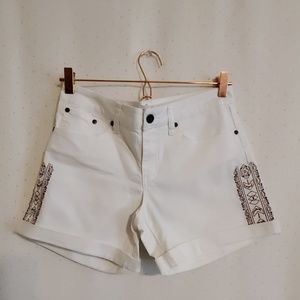 PrAna | White Embroidered Denim Shorts